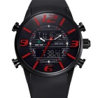 WEIDE Men's Luxury PU Strap Analog + Digital Military Sports Watch - Black + Red (1 x SR626SW)
