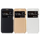 Flip Open PU + PC Cases w/ Window for Samsung Galaxy S6 Edge - White + Black + Champagne Gold (3PCS)