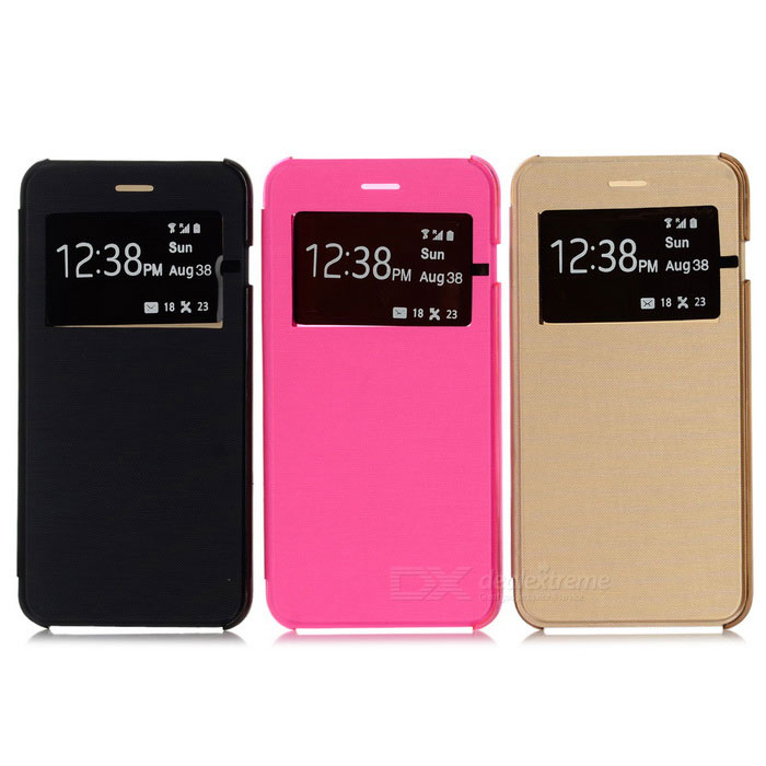 PU Cases w/ Window for IPHONE 6 PLUS - Deep Pink + Black + Gold (3PCS)