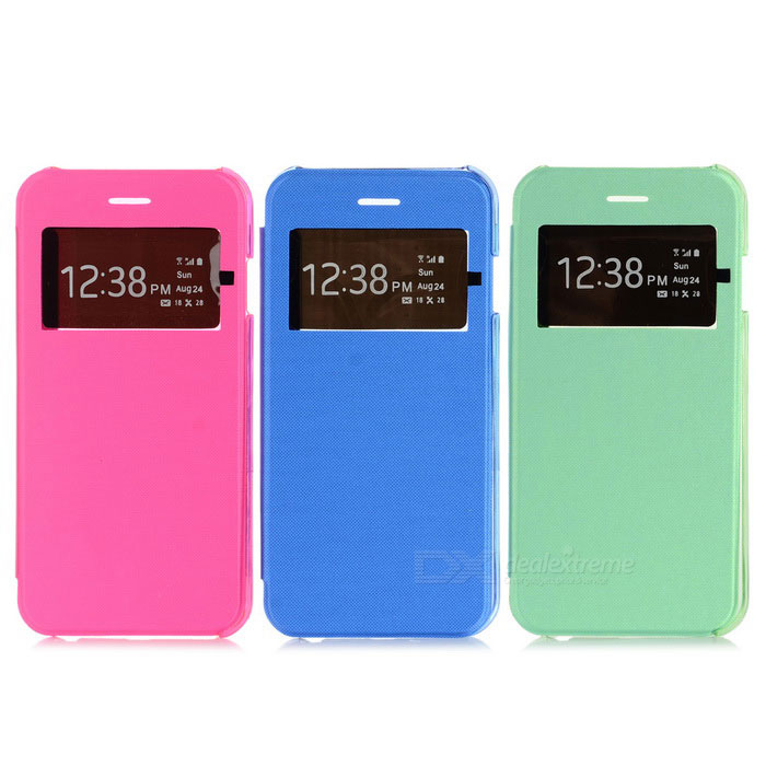 PU + PC Case w/ Window for IPHONE 6 - Deep Pink + Green + Blue (3PCS)
