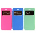 Flip Open PU + PC Protective Case w/ Window Set for IPHONE 6 - Deep Pink + Green + Blue (3PCS)