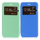 Flip Open PU + PC Protective Case w/ Window Set for IPHONE 6 PLUS - Green + Blue (2PCS)