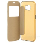 PU Cases w/ Window Set for Samsung S6 - Black + White + Golden (3PCS)