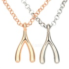 Y Type Zinc Alloy Necklaces for Lovers - Golden + Silver (2 PCS)