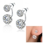 eQute Women's S925 Silver Sterling Four Claws Double Zircon Stud Earrings - White (Pair)