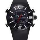 WEIDE Men's Luxury PU Strap Analog + Digital Military Sports Watch - Black + White (1 x SR626SW)