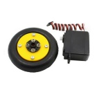 360 Degree Steering Gear + Tires Assembling Smart Car Robot - Black + Yellow