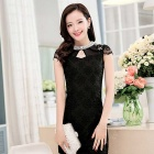 South Korea Style Organza Lace Short-Sleeved Slim Mini Dress - Black (Size XL)