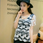 Women's Casual Korean Style Hollow-out Crochet Knitting Shirt Blouse Top - White