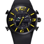 WEIDE Men's Luxury PU Strap Analog + Digital Military Sports Watch - Black + Yellow (1 x SR626SW)