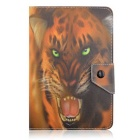 "MOZIX Tiger Leopard Pattern PU Protective Flip Open Case w/ Stand for 7"" Tablet - Black + Yellow"