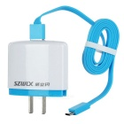 SZWLX US Plug AC Charger Power Adapter w/ Micro USB Charging Cable - White + Green (110~240V)