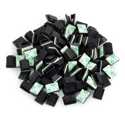 Car Wire Cable Clip Fixed Mount with Adhesive Tape - Black (100PCS)