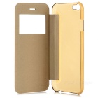 PU+PC Case w/ Window Set for IHPONE 6 - Black + White + Golden (3PCS)