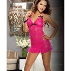 Sexy Lingerie Lace Embroidery Perspective Suit for Women - Deep Pink