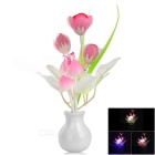 Tulip Style Light Control LED Night Light - Red + Pink + Multicolor (EU Plug / AC 220V)