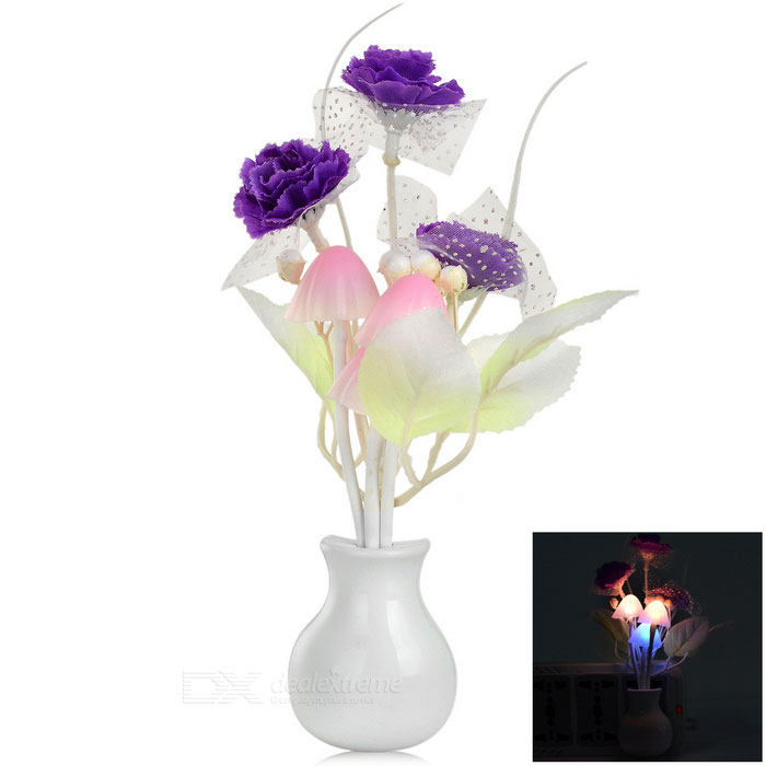 Lilac Style Optical Control LED Night Light - Purple + White