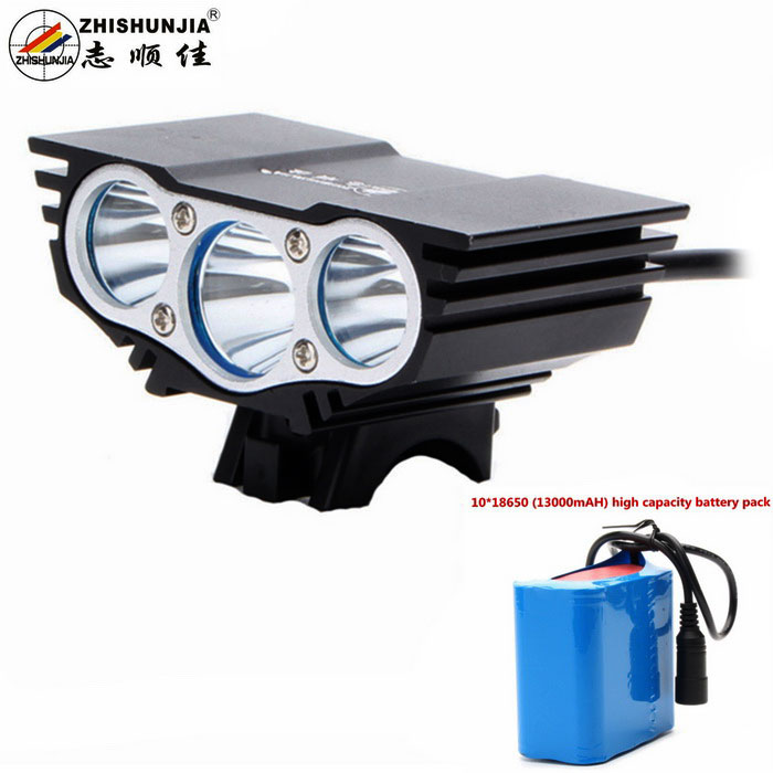 ZHISHUNJIA X3 LED Bike Light Headlight White 4-Mode 2800lm (10*18650)Bike Lights<br>Form  ColorBlackModelX3Quantity1 DX.PCM.Model.AttributeModel.UnitMaterialAluminium alloyEmitter BrandOthers,N/ALED TypeXM-LEmitter BINT6Number of Emitters3Color BINNeutral WhiteWorking Voltage   8.4 DX.PCM.Model.AttributeModel.UnitPower Supply8.4V battery packCurrent2.8~4.8 DX.PCM.Model.AttributeModel.UnitTheoretical Lumens3000 DX.PCM.Model.AttributeModel.UnitActual Lumens2800 DX.PCM.Model.AttributeModel.UnitRuntime6 DX.PCM.Model.AttributeModel.UnitNumber of Modes4Mode ArrangementHi,Mid,Low,Fast StrobeMode MemoryNoSwitch TypeForward clickyLensGlassReflectorAluminum SmoothFlashlight MountingHandlebar and HelmetSwitch LocationTailcapBeam Range200 DX.PCM.Model.AttributeModel.UnitBike Lamp Interface Size3.5mmBattery Pack Interface Size3.5mmPacking List1 x Headlamp1 x 100~240V US plug charger (100+/-2cm-cable)1 x 18650 battery pack (30+/-2cm, 13000mAh)2 x Rubber mount rings<br>