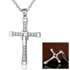 eQute PSIW49C1 Women's 925 Sterling Silver Zircon Crucifix Pendant Necklace - Silver