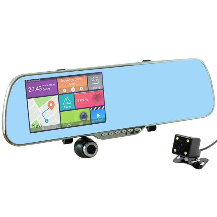 "U-ROUTE 5"" Android Rearview Mirror GPS Car DVR w/ Wi-Fi, ARG + BRA Map"