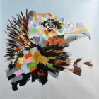 Cool Eagle Canvas Art Hand Painted Oil Painting - Black + Grey + Multi-Color