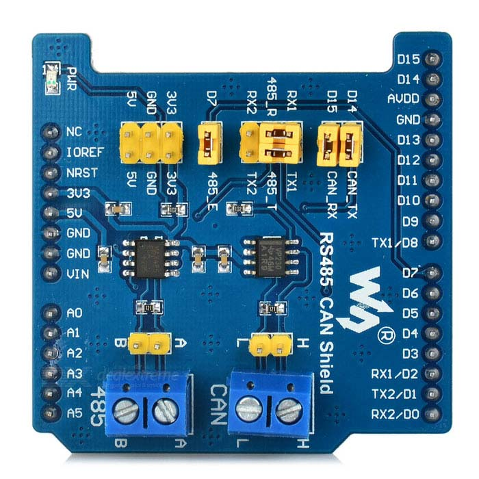 Waveshare RS485 CAN Shield for Arduino - Blue + YellowBoards &amp; Shields<br>Form ColorBlue + YellowModelN/AQuantity1 DX.PCM.Model.AttributeModel.UnitMaterialFR4 + PCBEnglish Manual / SpecYesDownload Link   http://www.waveshare.com/wiki/RS485_CAN_ShieldPacking List1 x CAN shield<br>