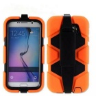 Protective Silicone Back Case w/ Stand for Samsung S6 - Orange