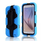 Protective Silicone Back Case w/ Stand for Samsung Galaxy S6 - Light Blue
