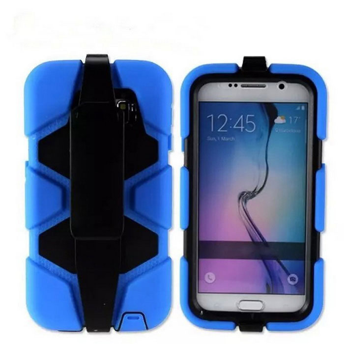 Protective Silicone Back Case w/ Stand for Samsung Galaxy S6 - Blue