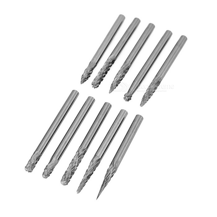 Tungsten Steel Grinding Head Carbide Rotating Files (10PCS / 3*3mm)