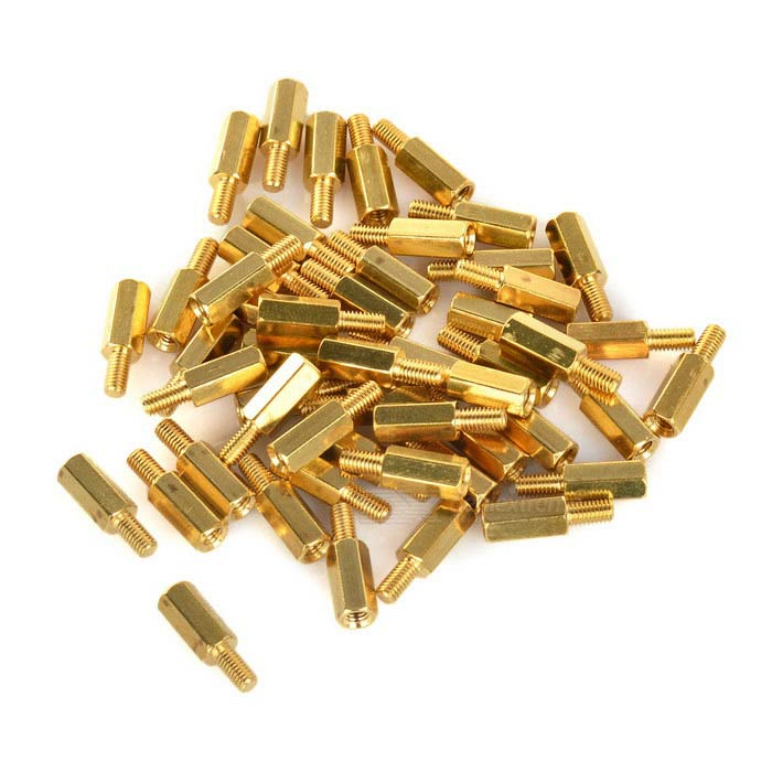 M3 10 + 6mm Hex PCB Installation Brass Hex Standoff Screw Pillars - Golden (50 PCS)
