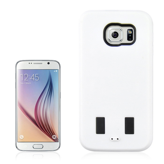 Silicone + PC Back Case w/ Stand for Samsung Galaxy S6 - White