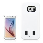 2-In-1 Protective Silicone + PC Back Case w/ Stand for Samsung Galaxy S6 - White