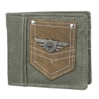 Stylish PU Fold-up Purse Wallet for Men - Army Green + Brown