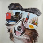 """The City in Dog's Eye"" Canvas Art Hand Painted Oil Painting - Black + Brown + Multi-Colored"