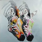"""Two Zebras"" Canvas Art Hand Painted Oil Painting - Black + Grey + Multi-Colored"