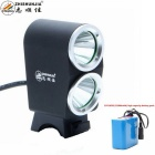 ZHISHUNJIA K2G XM-L T6 2-LED 1800lm 4-Mode White Bike Light Headlight - Black (10 x 18650)