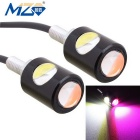 MZ 16mm 6W 2-COB 250lm LED Eagle Eyes Car Daytime Running / Fog Lamp White + Pink Light 12V Pair