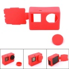 PANNOVO Protective Silicone Case w/ Back Cover + Lens Cap for GoPro Hero 4 / 3+ / 3 - Red