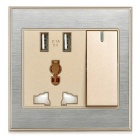 Jtron Dual-Port USB Universal Rechargeable Multi-functional Five-Hole Wall Socket - Champagne Gold