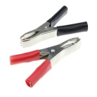 Large-Sized Semi-Flat Alligator Test Clips - Black + Red (2 PCS)