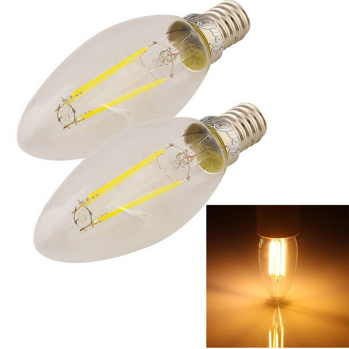 YouOKLight E14 4W 4-LED Filament Candle Light Warm White 380lm (2PCS)