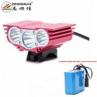 ZHISHUNJIA X3 XM-L T6 3-LED 2800lm 4-Mode White Bike Light Headlight - Deep Pink (10 x 18650)