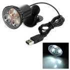 Clip-on USB 2.0 3-LED White Light Lamp for Laptops / Desktops - Black