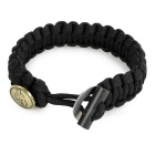 Outdoor Survival Emergency Parachute Cord Rope Bracelet w/ Flintstone Fire Starter / Scraper - Black