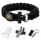 Outdoor Survival Emergency Parachute Cord Rope Bracelet w/ Flintstone Fire Starter / Blade - Black