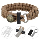 Outdoor Survival Emergency Parachute Cord Rope Bracelet w/ Flintstone Fire Starter / Blade - Tan