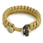Outdoor Survival Emergency Parachute Cord Rope Bracelet w/ Flintstone Fire Starter / Scraper - Tan