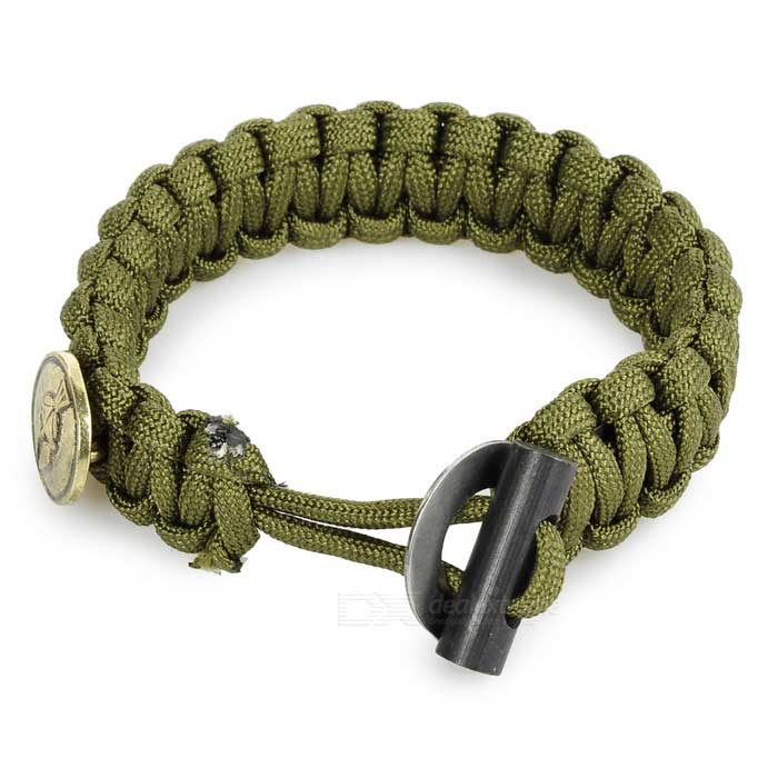 FURA Outdoor Survival Emergency Parachute Cord Rope Bracelet - Green