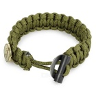 Outdoor Survival Emergency Parachute Cord Rope Bracelet w/ Flintstone Fire Starter / Scraper - Green